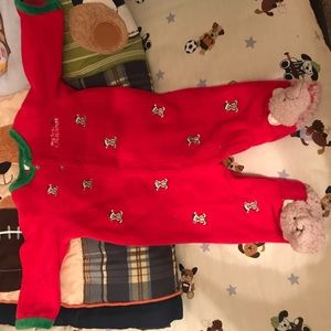 Red Christmas onesie brown teddy bears all over